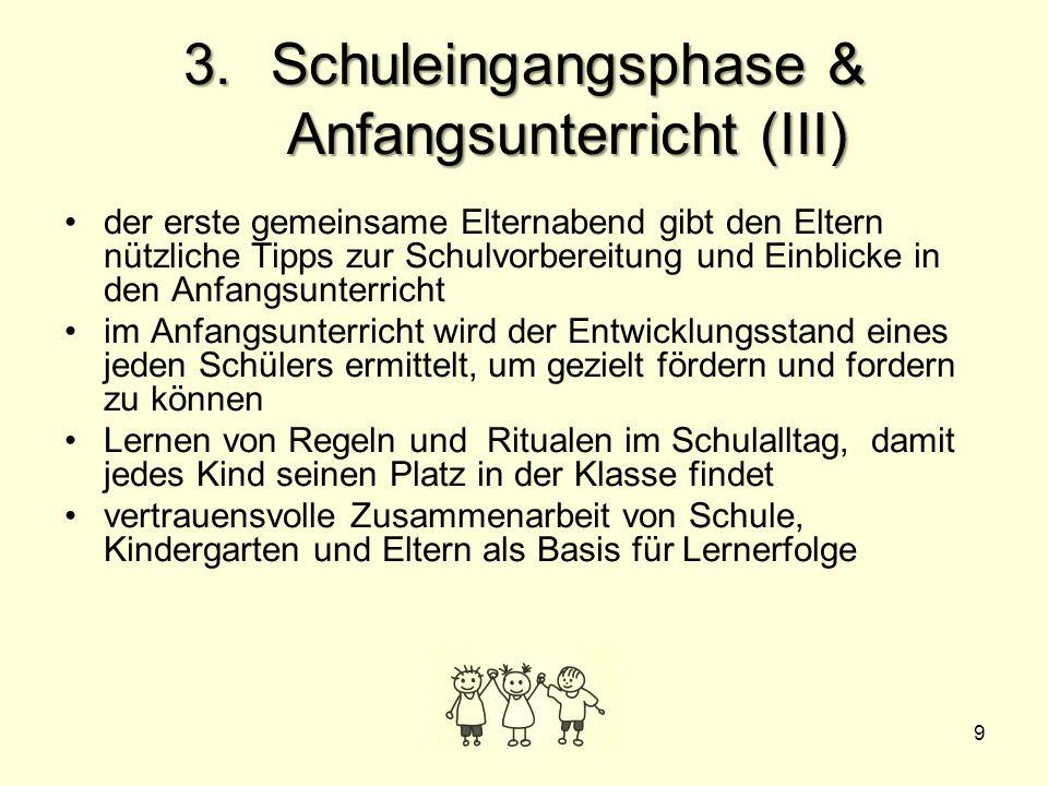 9 3.Schuleingangsphase & Anfangsunterricht (III) der erste gemeinsame Elternabend gibt den Eltern nützliche Tipps zur Schulvorbereitung und Einblicke