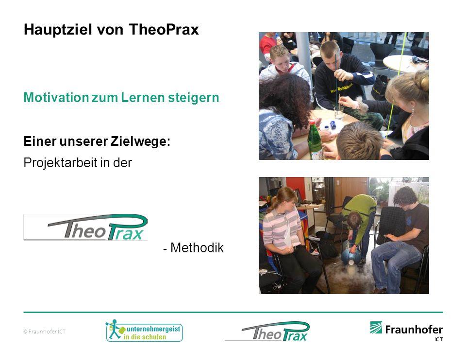© Fraunhofer ICT Hauptziel von TheoPrax Motivation zum Lernen steigern Einer unserer Zielwege: Projektarbeit in der - Methodik