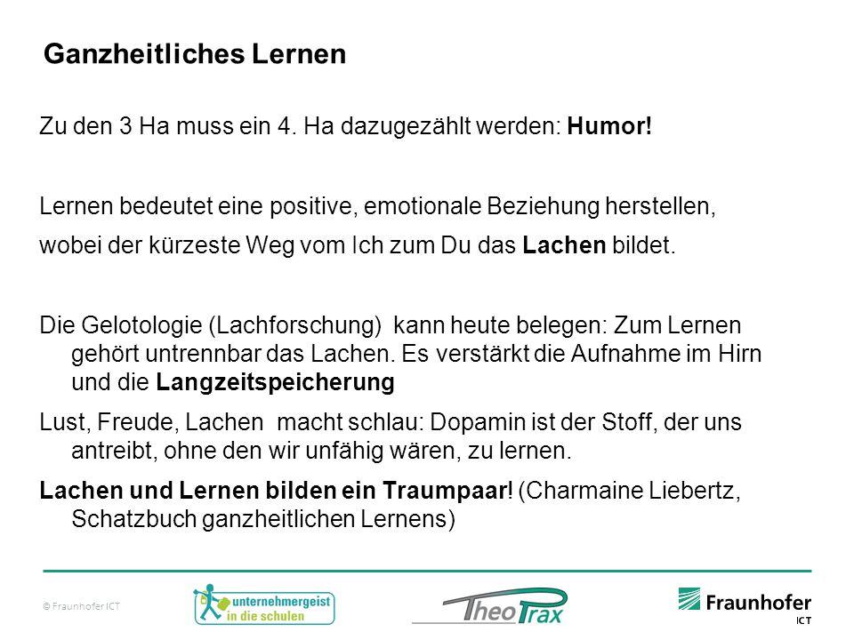 © Fraunhofer ICT Ganzheitliches Lernen Zu den 3 Ha muss ein 4.