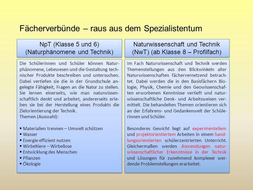 Fächerverbünde – raus aus dem Spezialistentum Naturwissenschaft und Technik (NwT) (ab Klasse 8 – Profilfach) Naturwissenschaft und Technik (NwT) (ab K