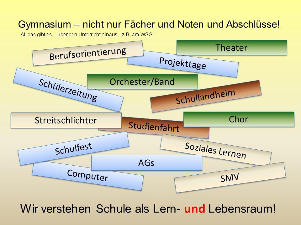 Gymnasium – nicht nur Fächer und Noten und Abschlüsse! Schullandheim Studienfahrt Soziales Lernen Projekttage Computer Schulfest Schülerzeitung SMV Ch