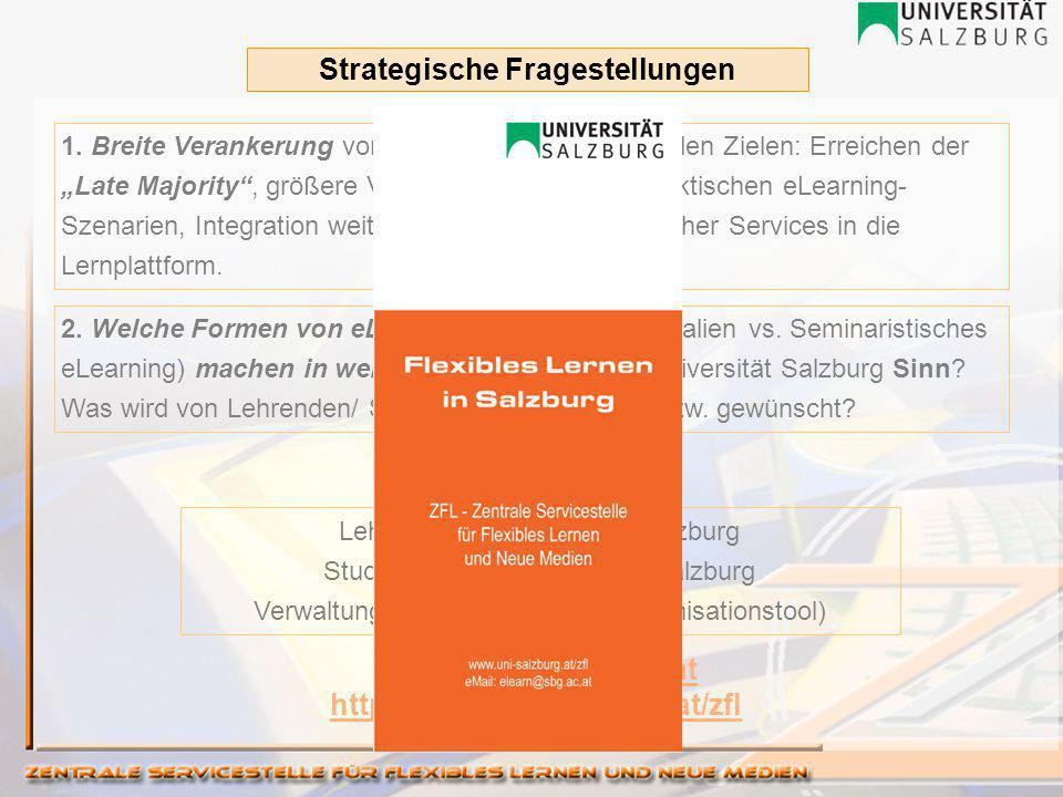 Lehrende der Universität Salzburg Studierende der Universität Salzburg Verwaltungspersonal (LPF als Organisationstool) https://elearn.sbg.ac.at http://www.uni-salzburg.at/zfl 1.