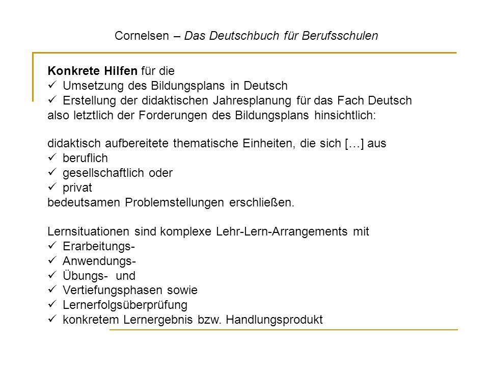Cornelsen – Das Deutschbuch für Berufsschulen Konkrete Hilfen für die Umsetzung des Bildungsplans in Deutsch Erstellung der didaktischen Jahresplanung