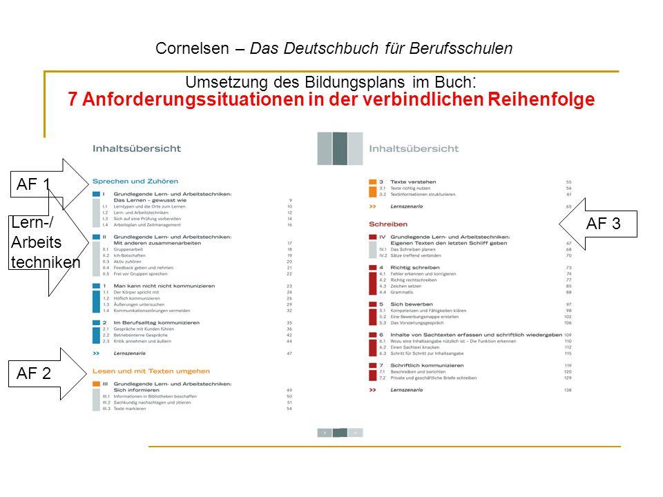 AF 1 Umsetzung des Bildungsplans im Buch : 7 Anforderungssituationen in der verbindlichen Reihenfolge AF 2 AF 3 Lern-/ Arbeits techniken