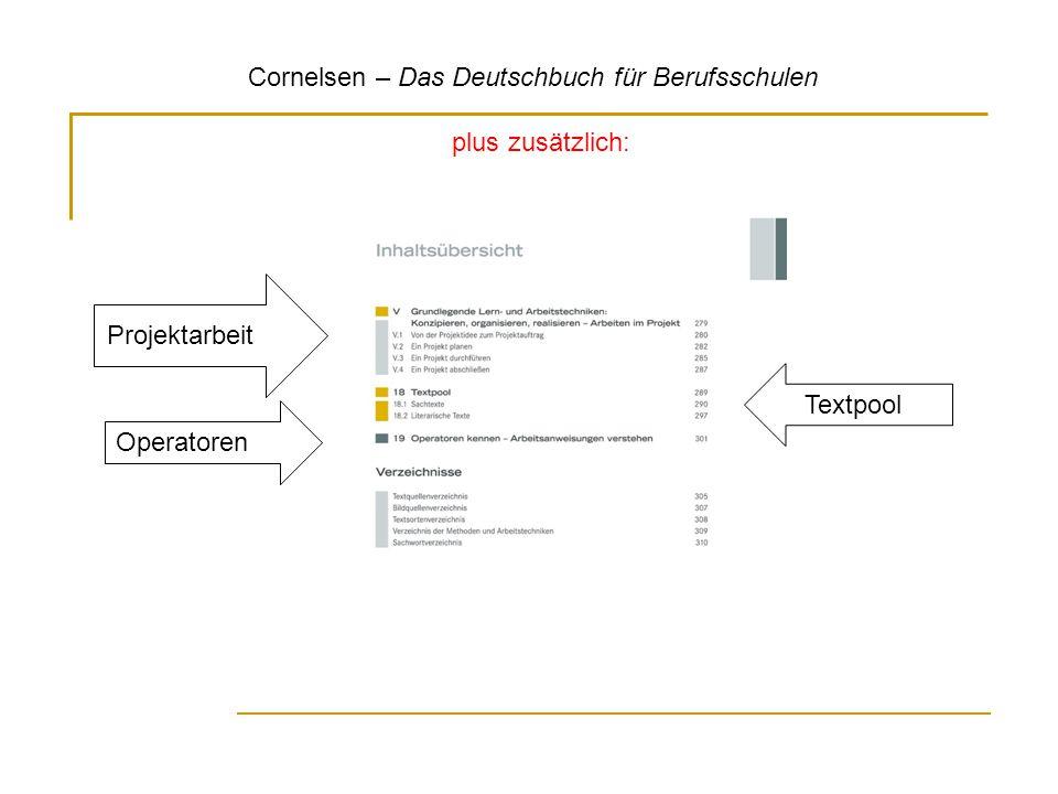 Cornelsen – Das Deutschbuch für Berufsschulen plus zusätzlich: Projektarbeit Operatoren Textpool