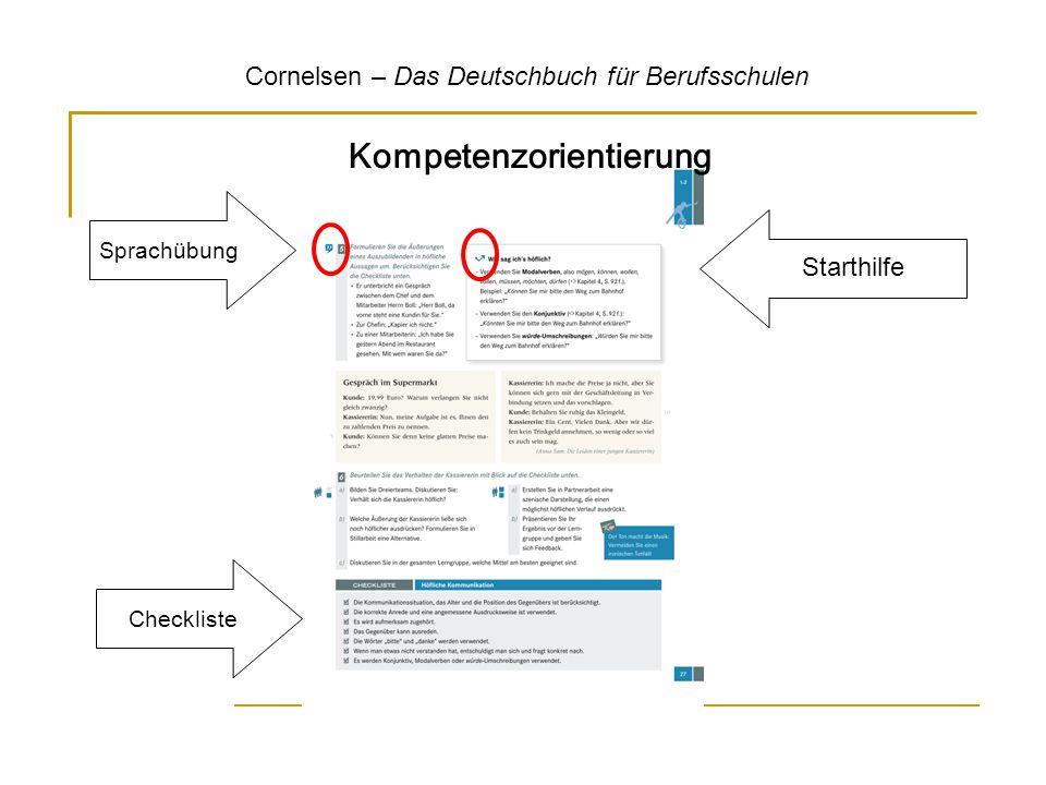 Kompetenzorientierung Cornelsen – Das Deutschbuch für Berufsschulen Checkliste Sprachübung Starthilfe
