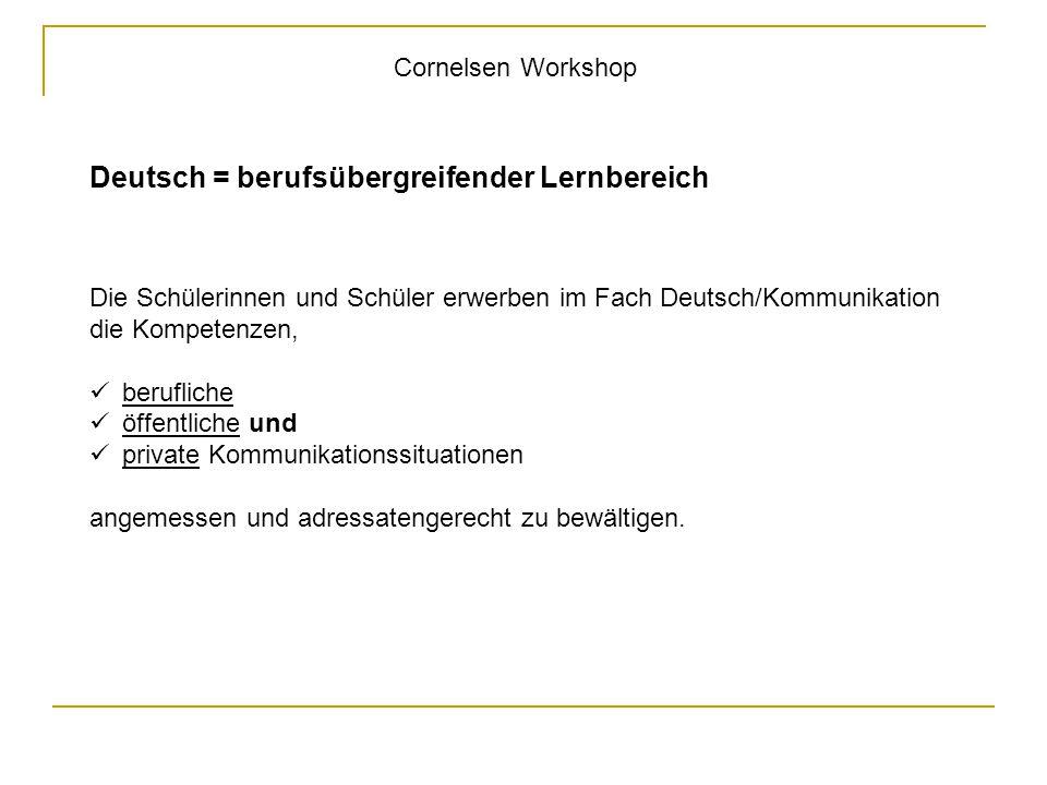 Cornelsen Workshop Deutsch = berufsübergreifender Lernbereich Die Schülerinnen und Schüler erwerben im Fach Deutsch/Kommunikation die Kompetenzen, ber