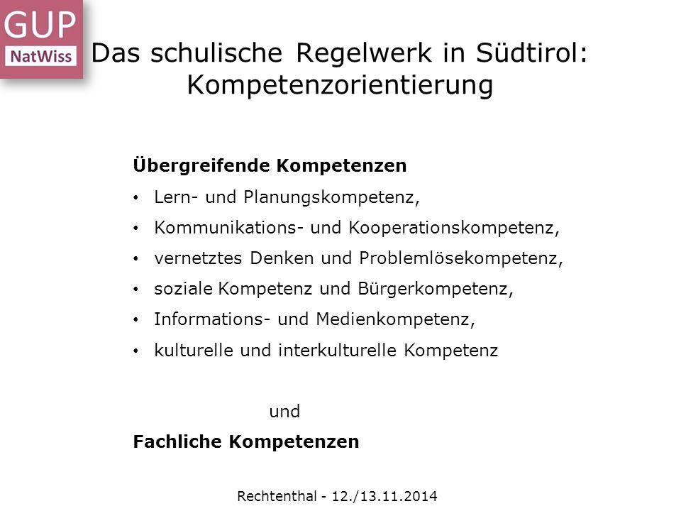 Das schulische Regelwerk in Südtirol: Kompetenzorientierung Rechtenthal - 12./13.11.2014 Übergreifende Kompetenzen Lern- und Planungskompetenz, Kommun