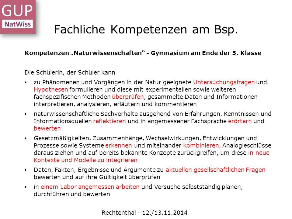 """Fachliche Kompetenzen am Bsp. Rechtenthal - 12./13.11.2014 Kompetenzen """"Naturwissenschaften"""" - Gymnasium am Ende der 5. Klasse Die Schülerin, der Schü"""