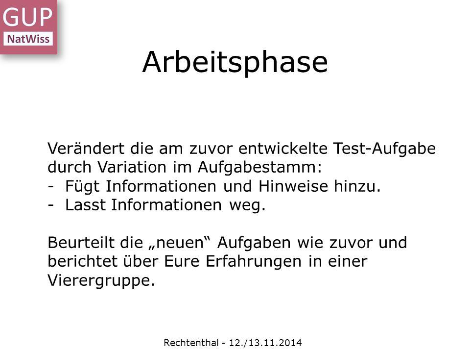 Rechtenthal - 12./13.11.2014 Arbeitsphase Verändert die am zuvor entwickelte Test-Aufgabe durch Variation im Aufgabestamm: -Fügt Informationen und Hin