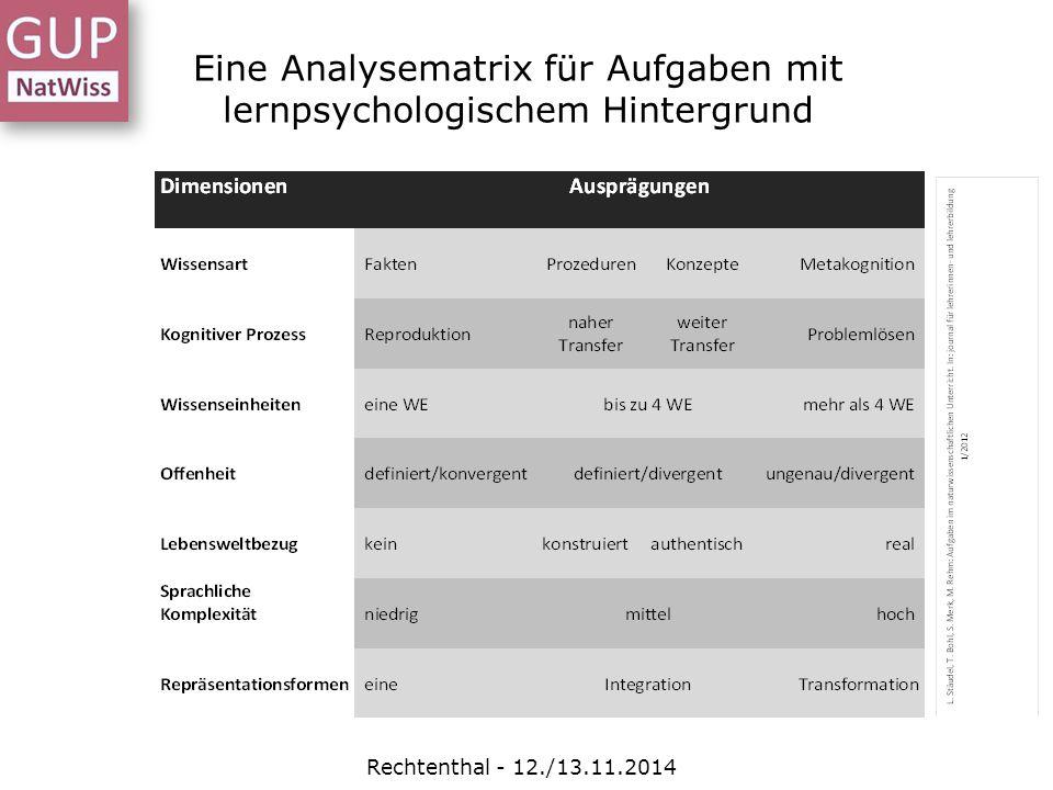 Eine Analysematrix für Aufgaben mit lernpsychologischem Hintergrund Rechtenthal - 12./13.11.2014