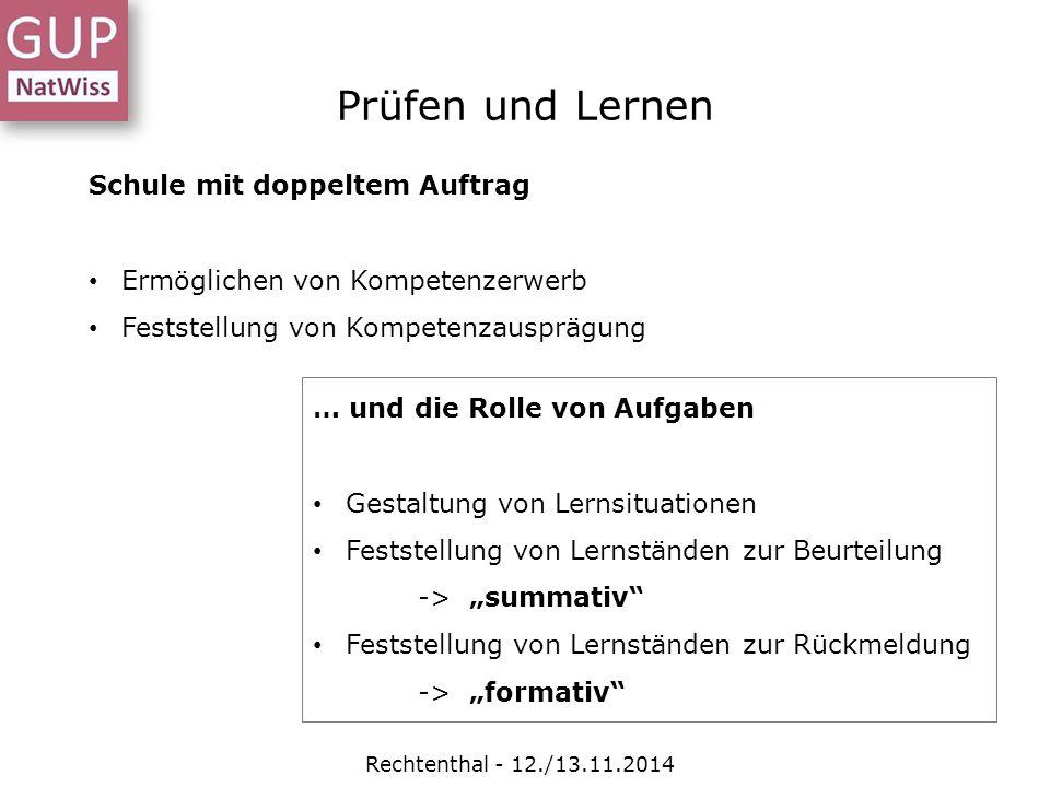Prüfen und Lernen Rechtenthal - 12./13.11.2014 Schule mit doppeltem Auftrag Ermöglichen von Kompetenzerwerb Feststellung von Kompetenzausprägung … und