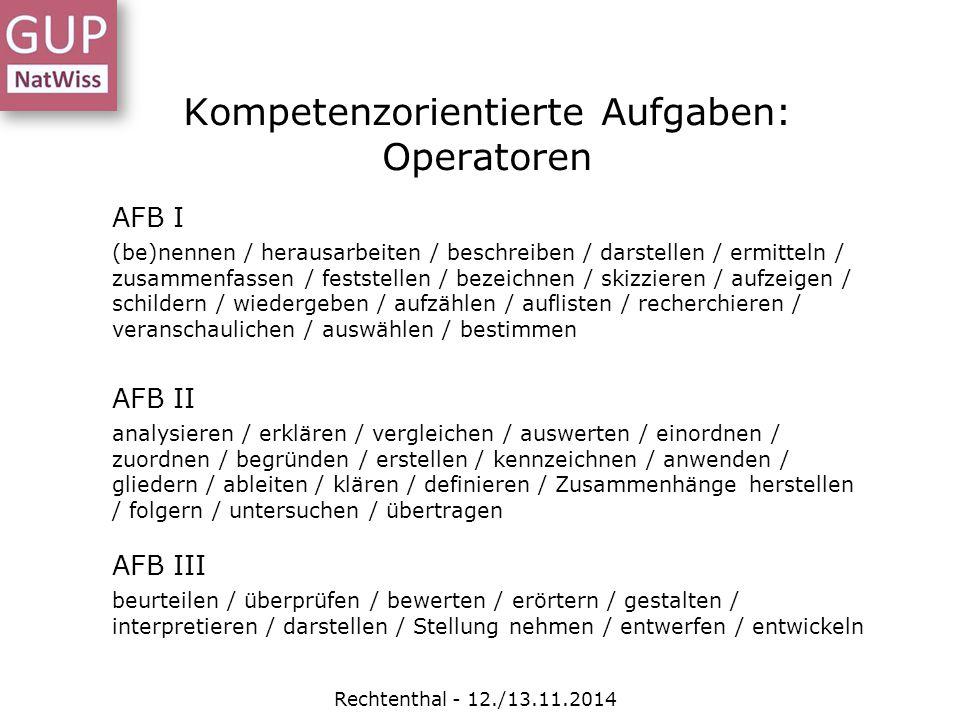 Kompetenzorientierte Aufgaben: Operatoren Rechtenthal - 12./13.11.2014 AFB I (be)nennen / herausarbeiten / beschreiben / darstellen / ermitteln / zusa