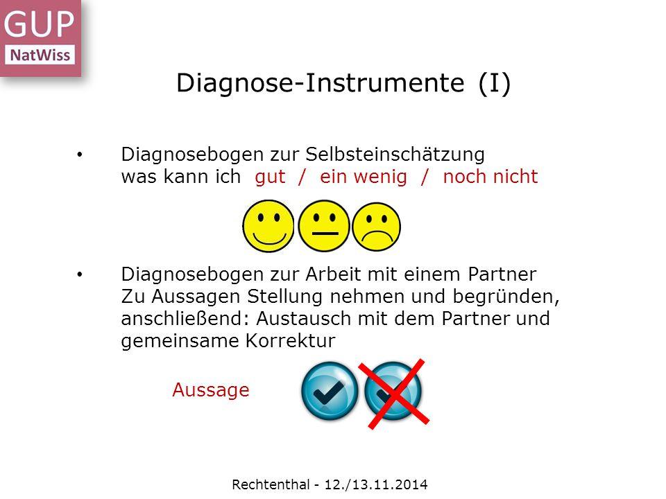 Diagnose-Instrumente (I) Diagnosebogen zur Selbsteinschätzung was kann ich gut / ein wenig / noch nicht Diagnosebogen zur Arbeit mit einem Partner Zu