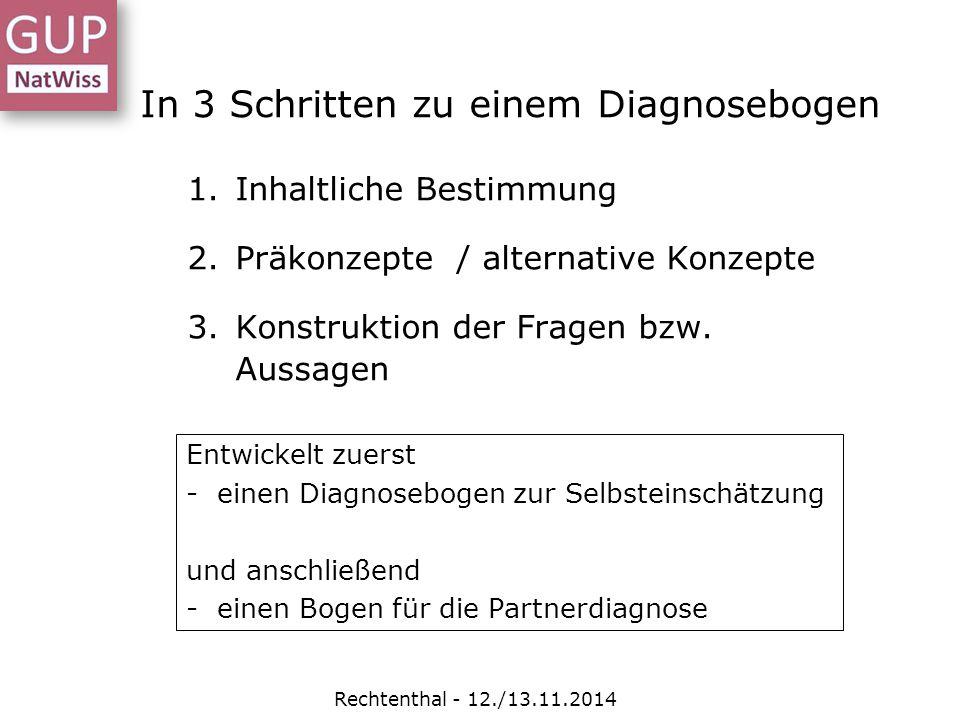 In 3 Schritten zu einem Diagnosebogen 1.Inhaltliche Bestimmung 2.Präkonzepte / alternative Konzepte 3.Konstruktion der Fragen bzw. Aussagen Entwickelt