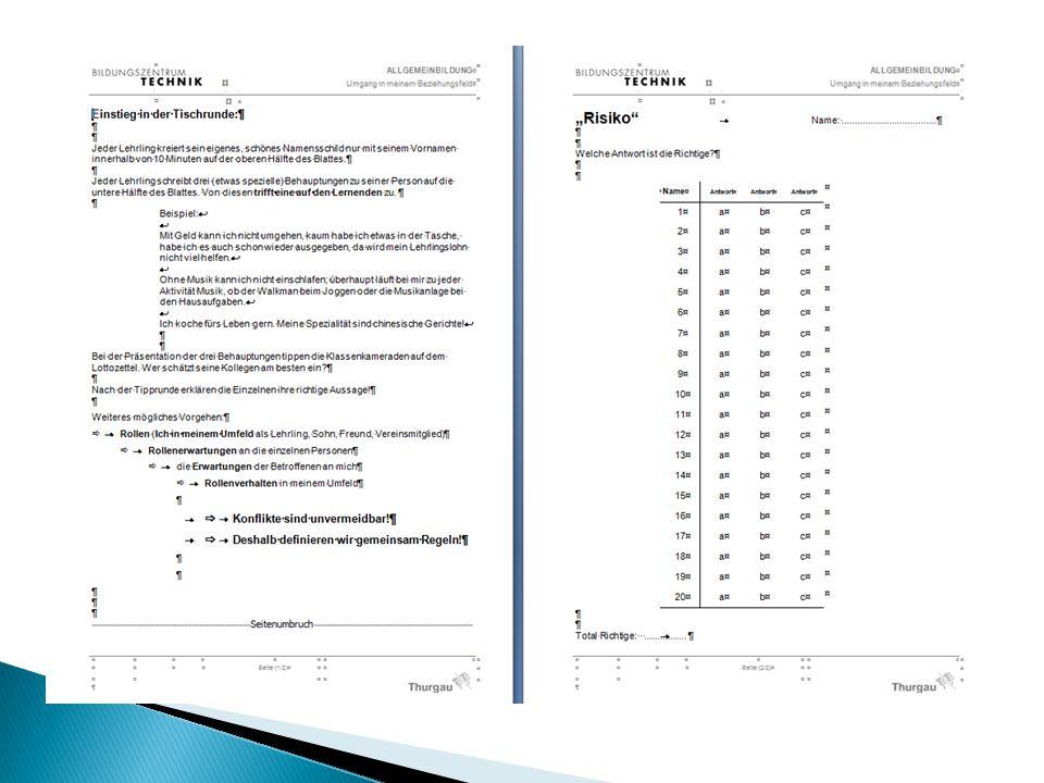  Es werden 2 Ordner angelegt…  Ein dicker Ordner mit 8, 6 oder 4 Registern analog der Semesteranzahl (4-, 3- oder 2-jährige Lehre) (Dieser bleibt zuhause und wird Ende Sem.