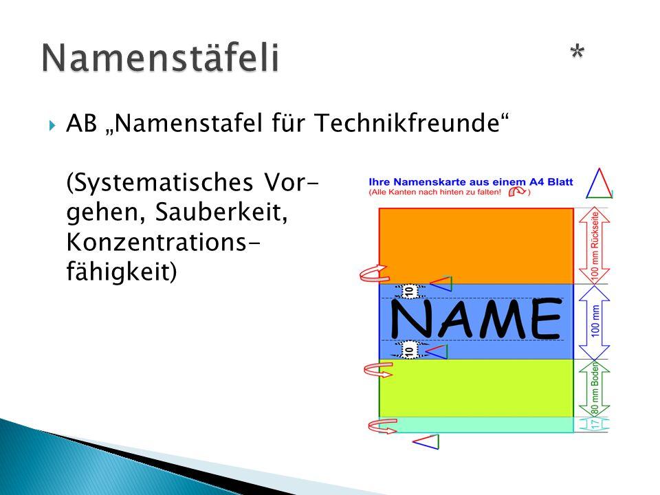 """ AB """"Namenstafel für Technikfreunde (Systematisches Vor- gehen, Sauberkeit, Konzentrations- fähigkeit)"""