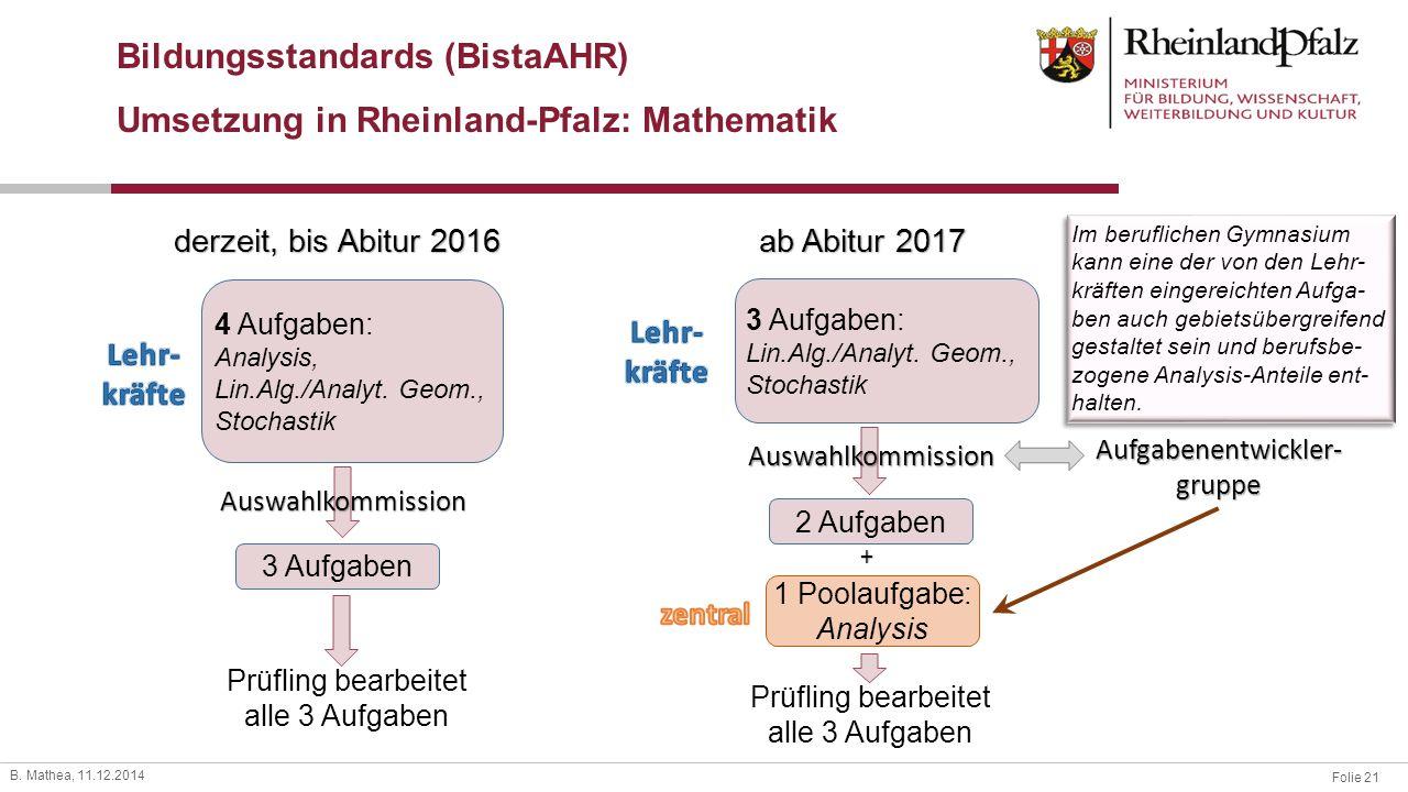 Folie 21 B. Mathea, 11.12.2014 Bildungsstandards (BistaAHR) Umsetzung in Rheinland-Pfalz: Mathematik 4 Aufgaben: Analysis, Lin.Alg./Analyt. Geom., Sto