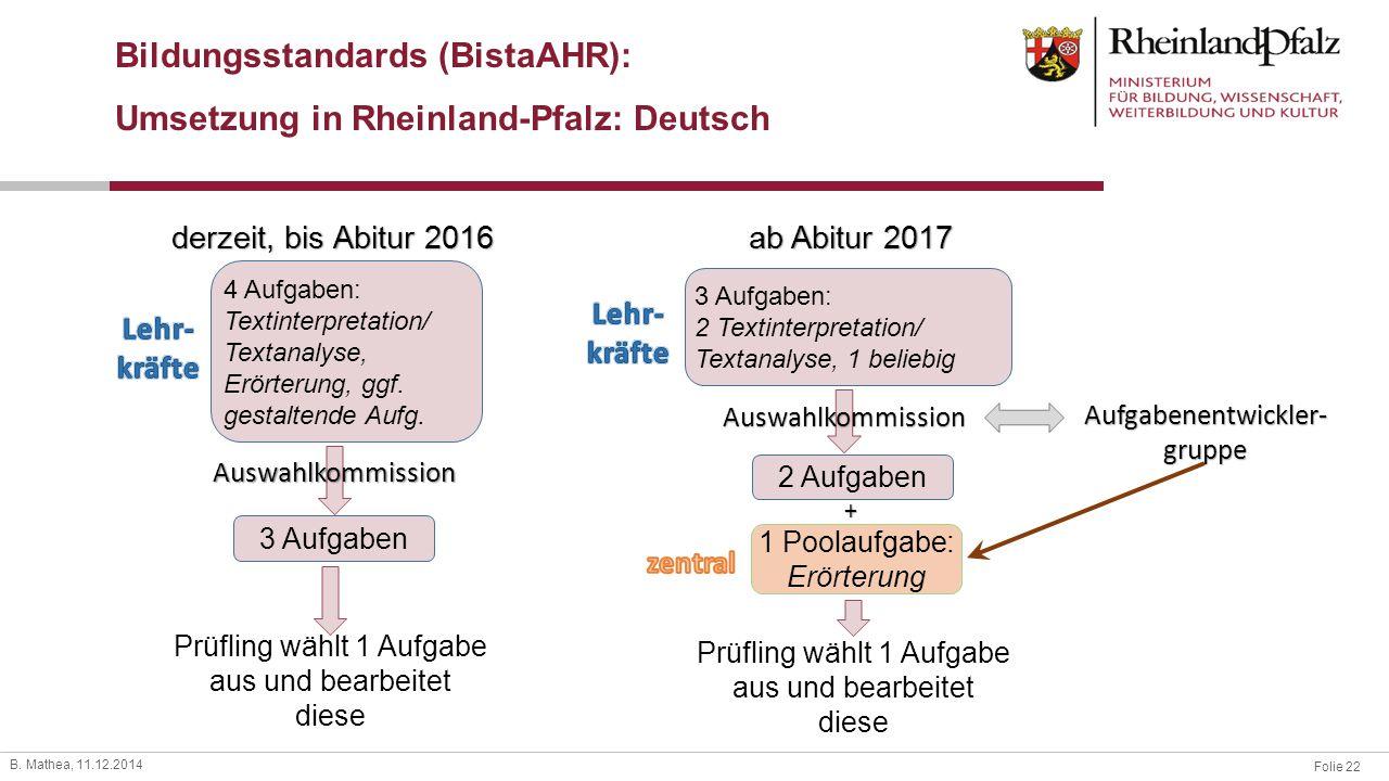 Folie 22 B. Mathea, 11.12.2014 Bildungsstandards (BistaAHR): Umsetzung in Rheinland-Pfalz: Deutsch derzeit, bis Abitur 2016 ab Abitur 2017 4 Aufgaben:
