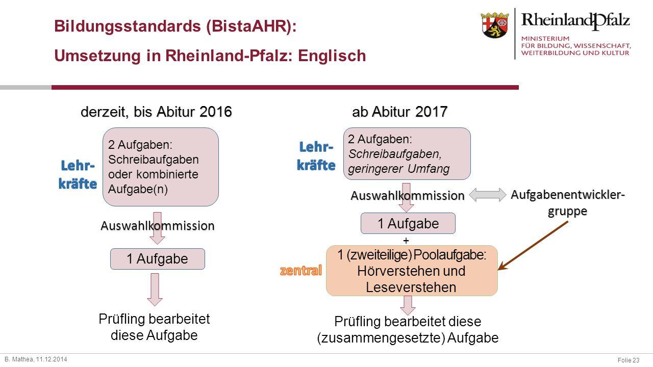 Folie 23 B. Mathea, 11.12.2014 Bildungsstandards (BistaAHR): Umsetzung in Rheinland-Pfalz: Englisch derzeit, bis Abitur 2016 ab Abitur 2017 2 Aufgaben