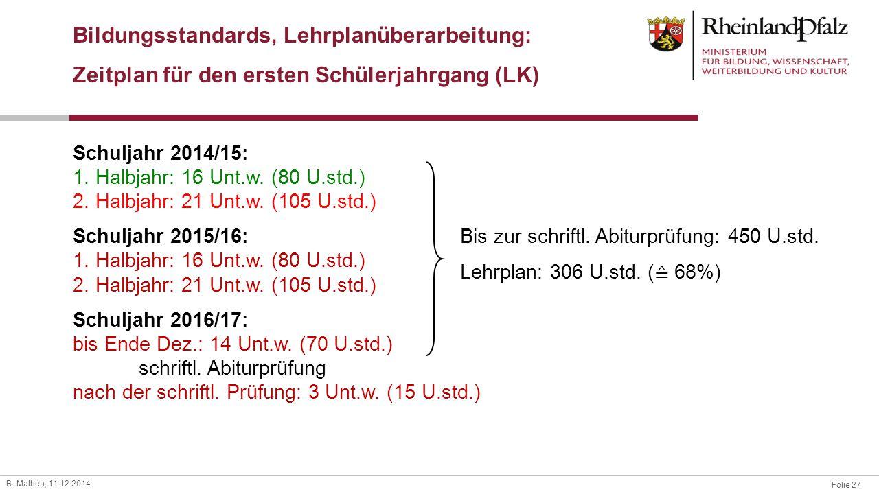 Folie 27 B. Mathea, 11.12.2014 Bildungsstandards, Lehrplanüberarbeitung: Zeitplan für den ersten Schülerjahrgang (LK) Schuljahr 2014/15: 1. Halbjahr: