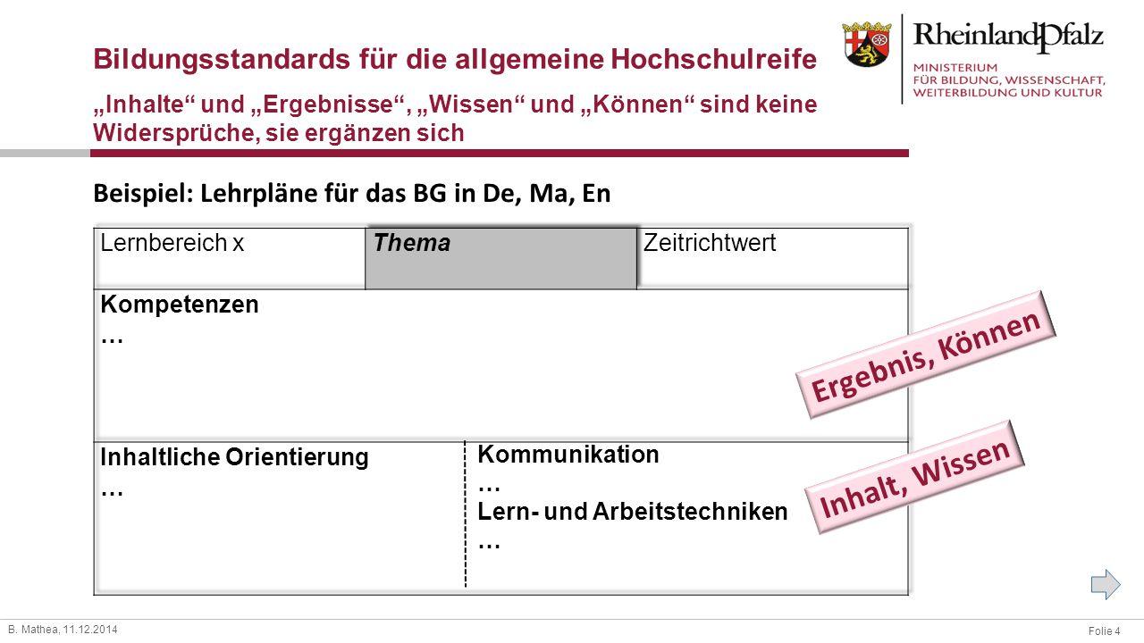 """Folie 4 B. Mathea, 11.12.2014 Bildungsstandards für die allgemeine Hochschulreife """"Inhalte"""" und """"Ergebnisse"""", """"Wissen"""" und """"Können"""" sind keine Widersp"""