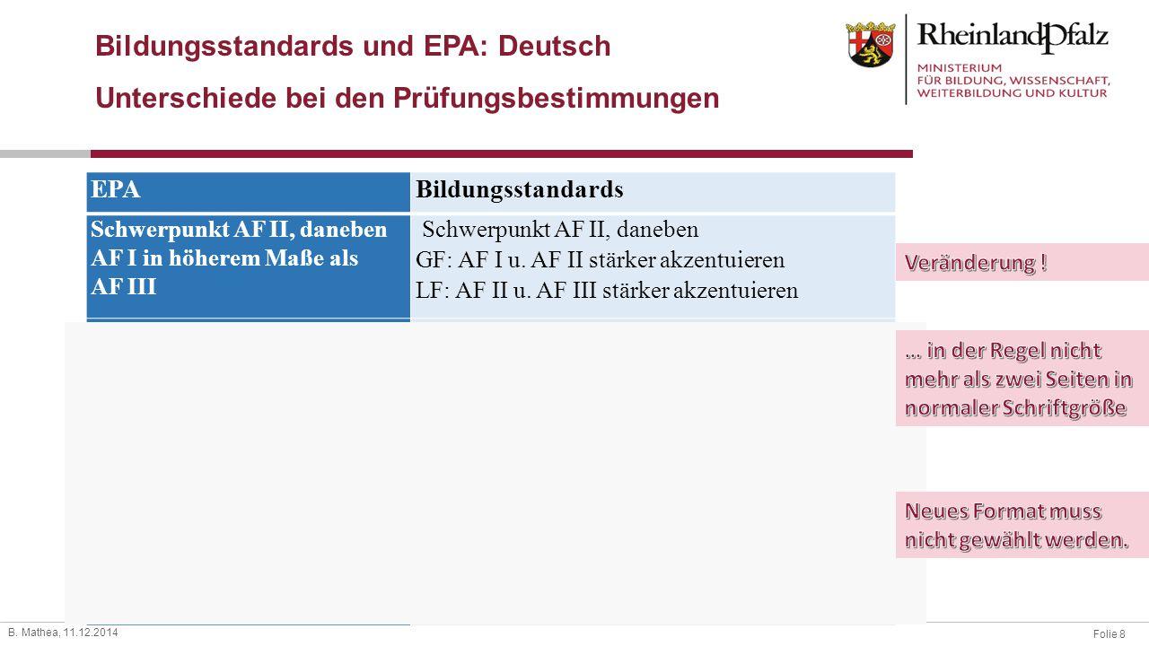 Folie 8 B. Mathea, 11.12.2014 Bildungsstandards und EPA: Deutsch Unterschiede bei den Prüfungsbestimmungen EPABildungsstandards Schwerpunkt AF II, dan