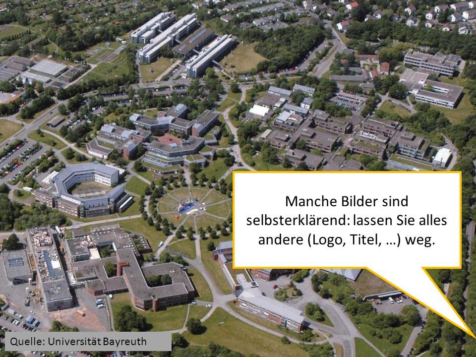 12 Manche Bilder sind selbsterklärend: lassen Sie alles andere (Logo, Titel, …) weg. Quelle: Universität Bayreuth