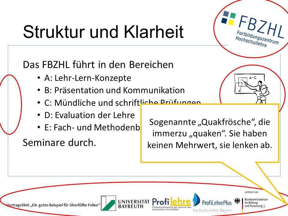 Struktur und Klarheit Das FBZHL führt in den Bereichen A: Lehr-Lern-Konzepte B: Präsentation und Kommunikation C: Mündliche und schriftliche Prüfungen