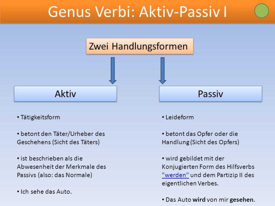 Genus Verbi: Aktiv-Passiv I Zwei Handlungsformen Passiv Aktiv Tätigkeitsform betont den Täter/Urheber des Geschehens (Sicht des Täters) ist beschriebe