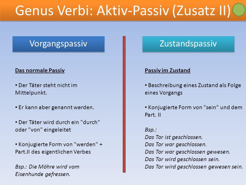 Genus Verbi: Aktiv-Passiv (Zusatz II) Zustandspassiv Vorgangspassiv Vorgangspassiv Das normale Passiv Der Täter steht nicht im Mittelpunkt. Er kann ab