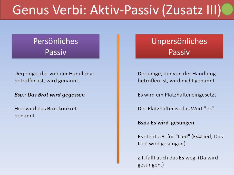 Genus Verbi: Aktiv-Passiv (Zusatz III) Unpersönliches Passiv Unpersönliches Passiv Persönliches Passiv Persönliches Passiv Derjenige, der von der Hand