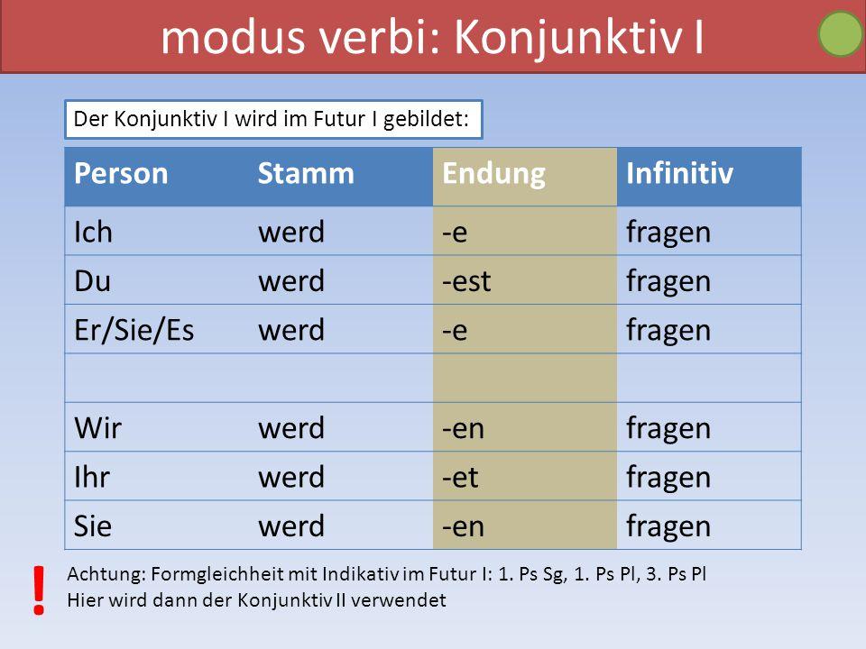 modus verbi: Konjunktiv I Der Konjunktiv I wird im Futur I gebildet: PersonStammEndungInfinitiv Ichwerd-efragen Duwerd-estfragen Er/Sie/Eswerd-efragen