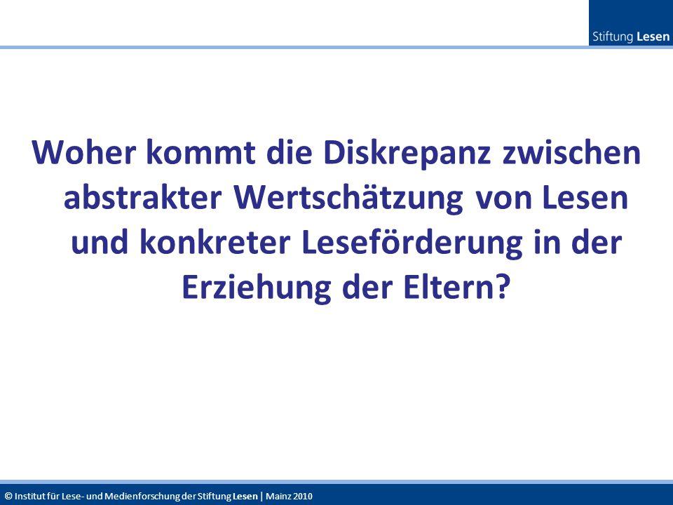 © Institut für Lese- und Medienforschung der Stiftung Lesen | Mainz 2010 Woher kommt die Diskrepanz zwischen abstrakter Wertschätzung von Lesen und ko