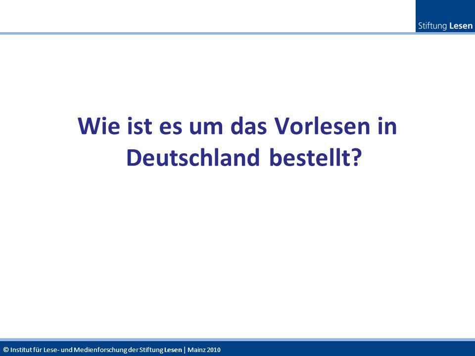 © Institut für Lese- und Medienforschung der Stiftung Lesen | Mainz 2010 Wie ist es um das Vorlesen in Deutschland bestellt?