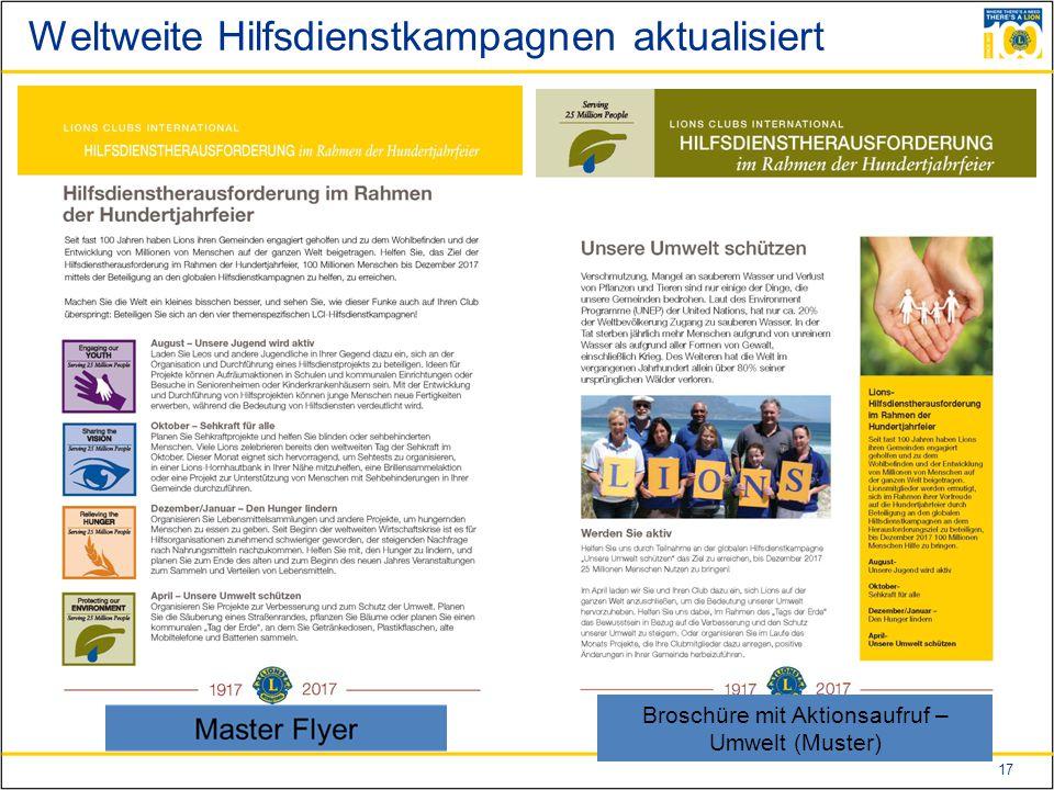17 Weltweite Hilfsdienstkampagnen aktualisiert Broschüre mit Aktionsaufruf – Umwelt (Muster)