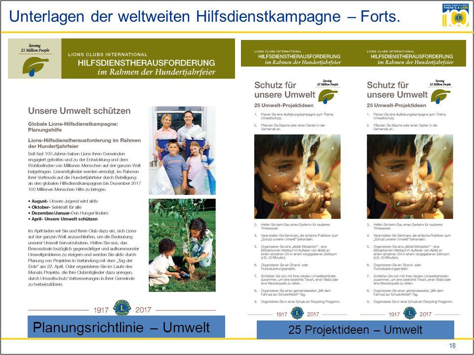 18 Unterlagen der weltweiten Hilfsdienstkampagne – Forts.