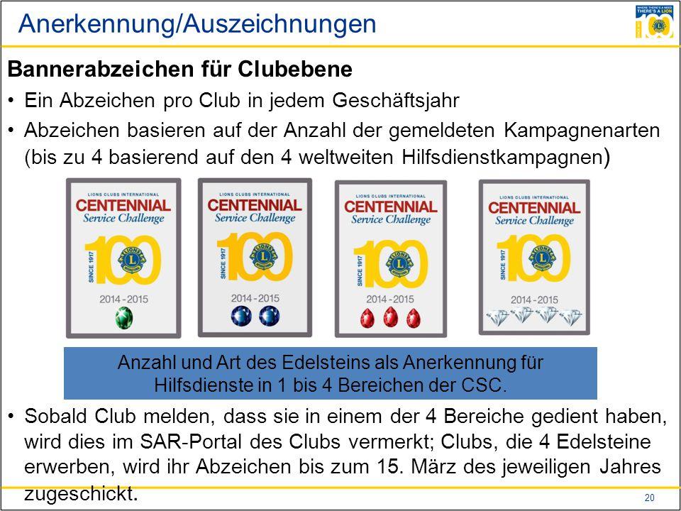20 Anerkennung/Auszeichnungen Bannerabzeichen für Clubebene Ein Abzeichen pro Club in jedem Geschäftsjahr Abzeichen basieren auf der Anzahl der gemeldeten Kampagnenarten (bis zu 4 basierend auf den 4 weltweiten Hilfsdienstkampagnen ) Sobald Club melden, dass sie in einem der 4 Bereiche gedient haben, wird dies im SAR-Portal des Clubs vermerkt; Clubs, die 4 Edelsteine erwerben, wird ihr Abzeichen bis zum 15.