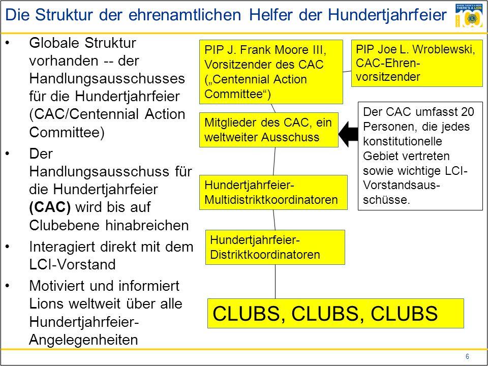 6 Die Struktur der ehrenamtlichen Helfer der Hundertjahrfeier Globale Struktur vorhanden -- der Handlungsausschusses für die Hundertjahrfeier (CAC/Centennial Action Committee) Der Handlungsausschuss für die Hundertjahrfeier (CAC) wird bis auf Clubebene hinabreichen Interagiert direkt mit dem LCI-Vorstand Motiviert und informiert Lions weltweit über alle Hundertjahrfeier- Angelegenheiten PIP J.