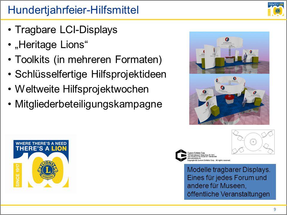 """9 Hundertjahrfeier-Hilfsmittel Tragbare LCI-Displays """"Heritage Lions Toolkits (in mehreren Formaten) Schlüsselfertige Hilfsprojektideen Weltweite Hilfsprojektwochen Mitgliederbeteiligungskampagne Modelle tragbarer Displays."""