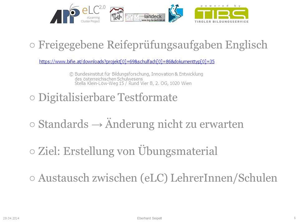 ○ Freigegebene Reifeprüfungsaufgaben Englisch https://www.bifie.at/downloads?projekt[0]=69&schulfach[0]=86&dokumenttyp[0]=35 © Bundesinstitut für Bild
