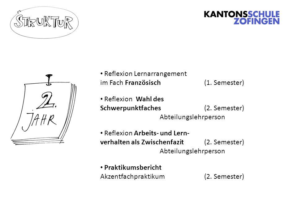 Reflexion Lernarrangement im Fach Französisch(1.Semester) Reflexion Wahl des Schwerpunktfaches (2.