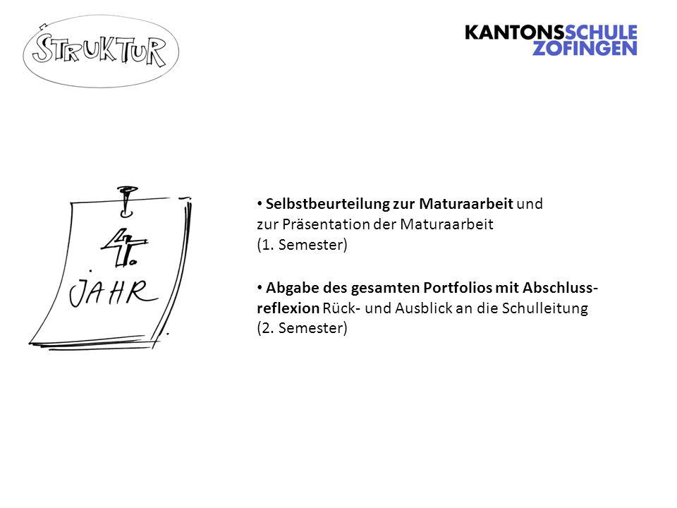 Selbstbeurteilung zur Maturaarbeit und zur Präsentation der Maturaarbeit (1.