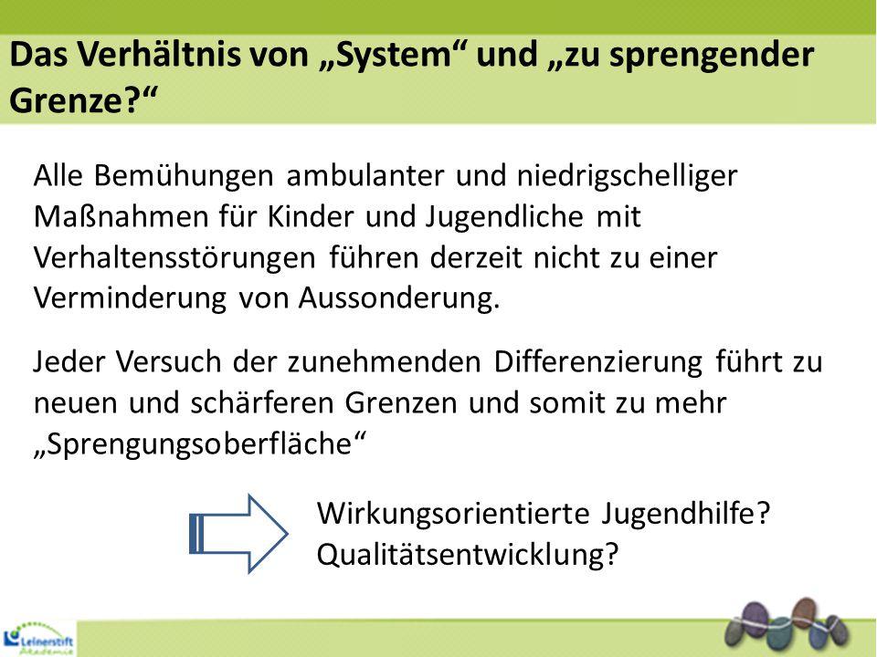 """Das Verhältnis von """"System und """"zu sprengender Grenze? Alle Bemühungen ambulanter und niedrigschelliger Maßnahmen für Kinder und Jugendliche mit Verhaltensstörungen führen derzeit nicht zu einer Verminderung von Aussonderung."""