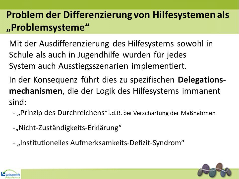 Mit der Ausdifferenzierung des Hilfesystems sowohl in Schule als auch in Jugendhilfe wurden für jedes System auch Ausstiegsszenarien implementiert. In