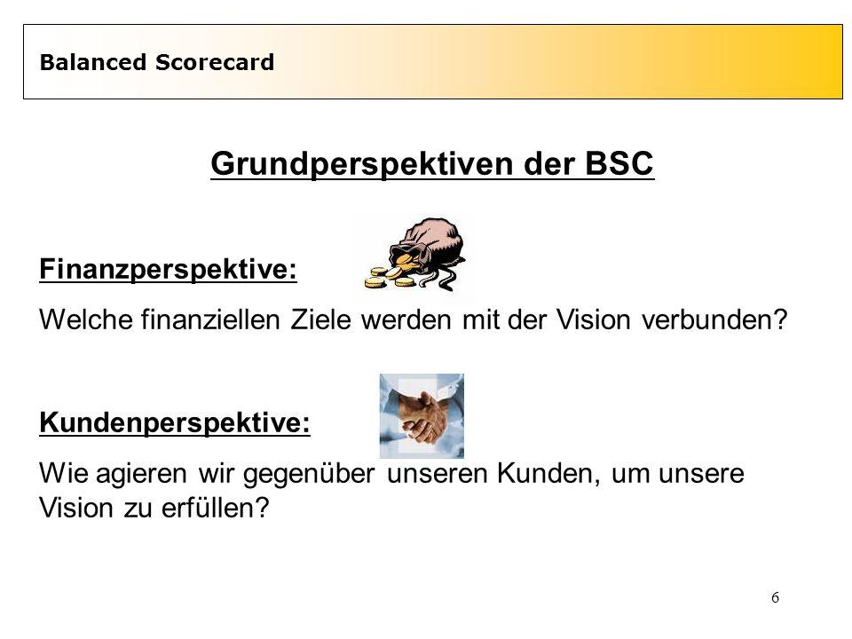 6 Balanced Scorecard Grundperspektiven der BSC Finanzperspektive: Welche finanziellen Ziele werden mit der Vision verbunden? Kundenperspektive: Wie ag