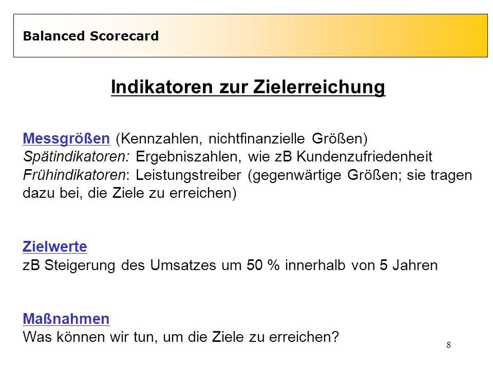 8 Balanced Scorecard Indikatoren zur Zielerreichung Messgrößen (Kennzahlen, nichtfinanzielle Größen) Spätindikatoren: Ergebniszahlen, wie zB Kundenzuf