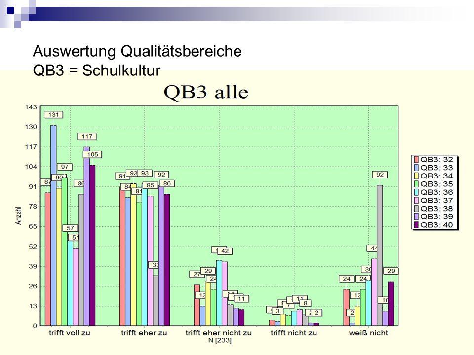 Auswertung Qualitätsbereiche QB3 = Schulkultur