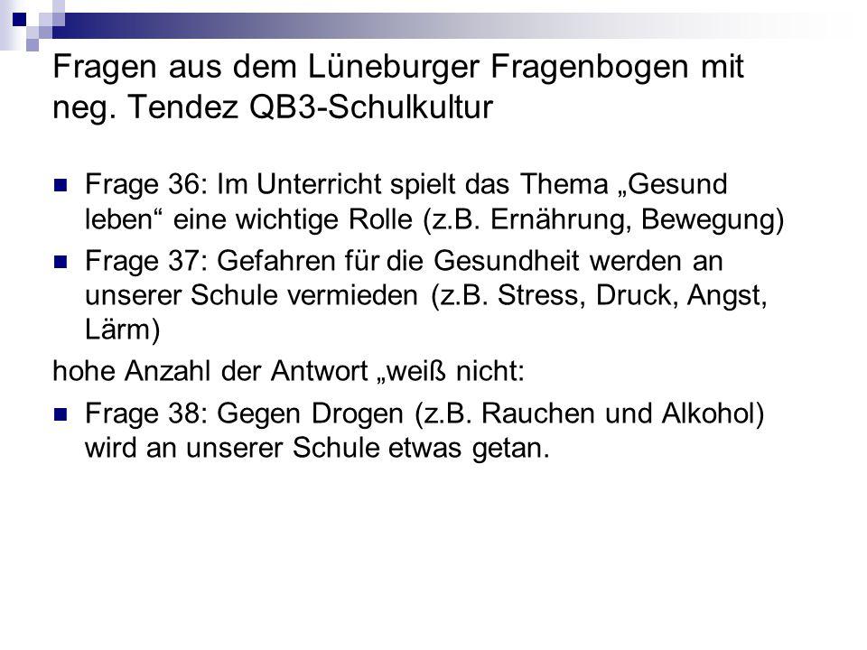 Fragen aus dem Lüneburger Fragenbogen mit neg.