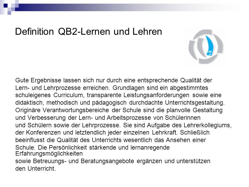 Definition QB2-Lernen und Lehren Gute Ergebnisse lassen sich nur durch eine entsprechende Qualität der Lern- und Lehrprozesse erreichen.